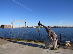 Looking out over Duluth Harbor and the Aerial Lift Bridge (Pangaea 88) Tags: costume duluth pterodactyl pterosaur aerialliftbridge quetzalcoatlus azhdarchid