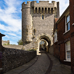 Barbican Gate (Keith in Exeter) Tags: road uk travel tower castle history architecture square outdoors gate arch barbican strength fortification cobbles protection eastsussex lewes crenellation buildingentrance corbelling buildingexterior touristdestination diamondclassphotographer flickrdiamond arrowloops