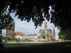Wedding Tower and Russian Chapel, Mathildenhhe (Sofia_K.) Tags: tower art modern germany chapel artnouveau darmstadt jugendstil hesse mathildenhhe russianchapel weddingtower artistscolony