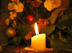 Merry Christmas (littlestschnauzer) Tags: christmas xmas flowers light church st festive nikon pretty candle decoration illumination flame serene candlelight windowsill michaels flicker flickering 2014 emley d5000