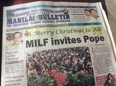 In the Philippines, that's the Moro Islamic Liberation Front (brownpau) Tags: news newspaper frontpage milf philippines ipadmini