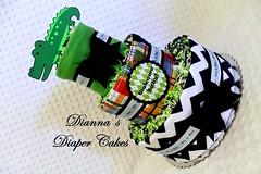 Alligator Baby Diaper Cake Madras Plaid (Dianna's Diaper Cakes) Tags: girls baby cakes boys shower diaper gift newborn centerpiece gender neutral