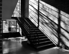 The MacRobertson Girls' High School (phunnyfotos) Tags: school shadow bw architecture modern stairs mono nikon stair interior australia melbourne monotone victoria moderne highschool vic 1934 albertpark ohm modernist southmelbourne secondaryschool melburnian normanseabrook d5100 nikond5100 phunnyfotos ohm2013 macphersonrobertson normanhseabrook