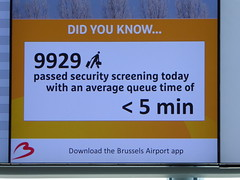 Average queue time under 5 minutes (seikinsou) Tags: ireland brussels building spring check airport belgium belgique notice time bruxelles security screen luggage queue temporary connector westmeath