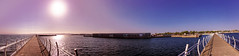 Crossing parallels or make your choice ) (N Medd) Tags: ocean road city travel blue sunset sea summer two sky people panorama sun building marina walking landscape evening pier path walk magenta serenity serene choice parallels forward iphone