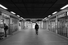 Lonesome Cowboy... (Lomonautin83) Tags: street travel blackandwhite bw dresden blackwhite fuji streetphotography minimal hauptbahnhof sachsen symmetric symmetrical fujifilm minimalism minimalistic bnw mainstation centralstation symmetrie symmetrisch streetfotografie fujixseries fujix100t