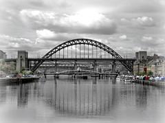 Tyne bridge-quayside.. (ocean rain) Tags: tynebridge quayside pointshoot picmonkey gimp selectivecolour nikon river sky clouds northeastcoastuk