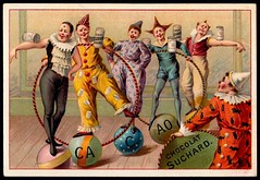French Tradecard - Circus Acts #7 (cigcardpix) Tags: vintage advertising circus chocolate ephemera clowns chromo tradecards