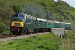 D832 Onslaught @ Corfe Castle (daveymills31294) Tags: castle diesel railway class corfe gala swanage 42 warship onslaught 2016 d832