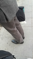 Hidden Camera - waiting for the bus 01 (TBTAOTW2011) Tags: old man black feet leather businessman daddy foot shoe shoes dad dress tie monk business suit belly mature monks monkstrap monkstraps