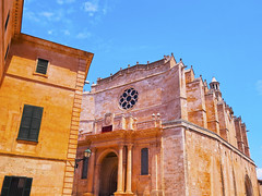 Cathedral in Ciutadella on Minorca (Les Voyages FRAM) Tags: street travel blue sea summer sky urban color building church horizontal architecture facade port de island coast town site spain europe downtown mediterranean cityscape view place cathedral outdoor landmark spanish destination historical oldtown esp ciudadela menorca baleares ciutadella minorca balearicislands balearic balears famousplace worldlocations minorka cathedralofciutadella cathedralofminorca santamariadeciutadela