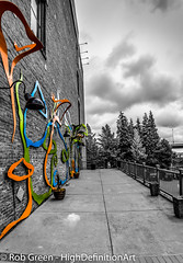 Art-Building-BW-Color (Rob Green - SmokingPit.com) Tags: old city school 2 bw white black color building brick green art museum architecture canon lens town washington artwork day pacific northwest cloudy mark south wide overcast down center rob ii sound 7d wa childrens tacoma splash ultra f28 selective 10mm rokinon pugt