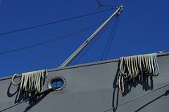 San Francisco - Tied (Drriss & Marrionn) Tags: sanfrancisco california travel blue sky usa dock ship waterfront outdoor ships navy bluesky rope diagonal fishermanswharf ropes usnavy libertyship pier45 ssjeremiahobrien