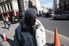 (ziemowit.maj) Tags: uk sunlight streetphotography piccadilly centrallondon streetcones candidphotography ef28mmf18 canon5dmkiii oldermaninpalejacketwalkingintoshadow