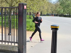 Hyde Park Jogger (Waterford_Man) Tags: hydepark run runner running jog jogger jogging girl black sports people path london