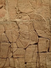Closeup of relief depicting Horus on the Shrine of the 25th dynasty pharaoh and Kushite King Taharqa  Egypt 7th century BCE (mharrsch) Tags: architecture temple worship shrine god unitedkingdom religion egypt oxford 7thcenturybce horus myth deity basrelief ashmoleanmuseum taharqa lateperiod 25thdynasty mharrsch
