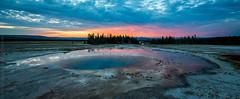 Opal Pool Sunset (Kurt Lawson) Tags: basin blue clouds firehole geyser national nationalpark natural opal opalpool organge park pine pool red reflection river sunset trees wy wyoming yellowstone yellowstonenationalpark unitedstates