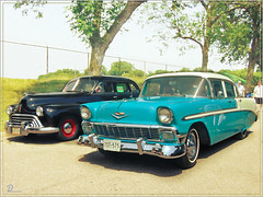 Passing by (novice09) Tags: backtothefifties carshow chevrolet oldsmobile ipiccy photoscape whitewalls fenderskirts sedan