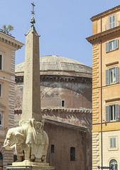 Berninis Elephant carrying an Egyptian Obelisk,Piazza della Minerva,with Pantheon,Rome (cnosni) Tags: rome italy berniniselephantcarryinganegyptianobelisk piazzadellaminerva withpantheon bernini