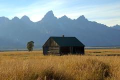 Log Cabin and Grand Tetons, Mormon Row - Grand Teton National Park, Wyoming (danjdavis) Tags: mormonrow grandtetonsnationalpark nationalpark oldhouse historichouse wyoming logcabin cabin grandtetons roxkymountains mountains grassland