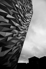 Meaningless again (the bbp) Tags: uk sky bw white black art silhouette museum architecture clouds noir nuvole arte belfast bn cielo northernireland museo titanic bianco blanc nero architettura ulster irlandadelnord thebbp