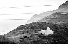 Greece, 2014 (JP Garcia) Tags: travel bw white mountain black church landscape rocks nowhere greece