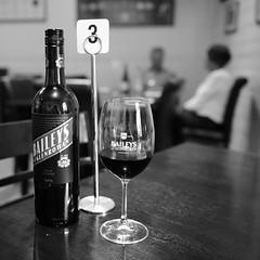 Table 3 (PhotosbyDi) Tags: bw monochrome wine winery taminick bottleandglass nikond600 hmtb drinksinaglass nikonf282470mmlens baileysofglenrowan baileyswinery