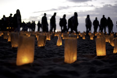 Baker Beach Labyrinth (scott in sf) Tags: sanfrancisco silhouette candles bakerbeach labyrinth celebtation