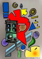 Late Night Modern Art (inklines) Tags: windows abstract art modern illustration comics artist drawing modernart cartoon sketchbook brush comix psychedelic penandink michaelarthur