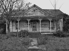 Bleak December (Gerry Dincher) Tags: benson northcarolina johnstoncounty blackandwhite abandoned abandonedhome december82014 frontporch churchstreet gerrydincher