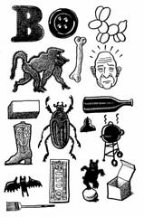 Everything B (Don Moyer) Tags: bear moleskine ink bug notebook bottle drawing bald button bone baboon moyer brushpen donmoyer