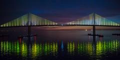 Sunshine Skyway Bridge at Night (jeff_a_goldberg) Tags: night unitedstates florida royalcaribbean visionoftheseas sunshineskywaybridge bobgrahamsunshineskywaybridge
