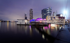 Floating Pavilion (MarkJongen photography) Tags: longexposure skyline night photography rotterdam wide wideangle erasmusbrug derotterdam rijnhaven drijvendpaviljoen