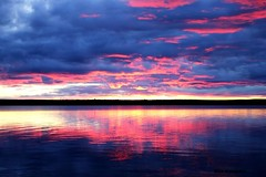 It was a sunset, not an volcano erupting. (Miia Helander) Tags: blue red lake clouds finland evening horizon lapland