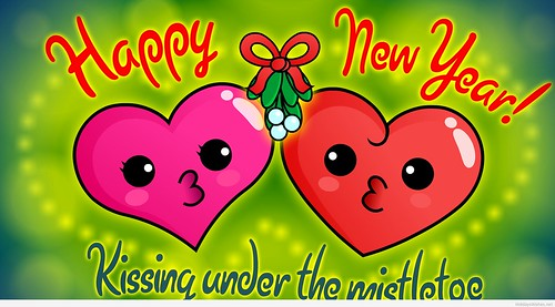 Happy New Year 2015 Cartoon Love Kiss HD Wallpaper - Stylish HD