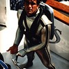 Silver Cousteau wetsuit. (Vintage Scuba) Tags: red man black men wet yellow fetish silver james us divers pants mask boots tail stripe gear scuba diving double hose beaver equipment suit jacket bond hood diver beavertail fin jacques booties striped fins wetsuit 007 regulator cousteau