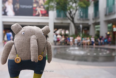 L-L is very tempted to jump into the fountain....... (Kewty-pie) Tags: elephant fountain mall cloth ll adatine