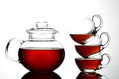 Three Cups of Tea (Karen_Chappell) Tags: stilllife white 3 cup glass three tea beverage stack teapot teacup liquid