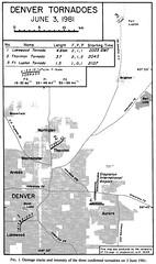Damage tracks of the June 3, 1981 Thornton, Colorado tornado. (NCAR)
