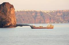 Cargo Ship in Santorini at Sunrise (RV Bob) Tags: ocean water ship gimp santorini greece caldera thira thera
