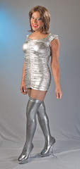 Sterling Silver! (kaceycd) Tags: boots s tgirl transvestite fishnets pantyhose crossdress spandex lycra lurex tg stilettos kinkyboots thighboots minidress wetlook platformboots stilettoboots fishnethose sexyboots stockingboots