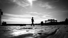 Alone, black and white street photography - Santa Barbara, California (Giuseppe Milo (www.pixael.com)) Tags: california street city sea sky urban blackandwhite bw usa man santabarbara clouds contrast port walking geotagged photography pier us photo alone fuji unitedstates candid streetphotography faceless fujifilm onsale 18mm fujix xt10 fuji18mm fujixt10