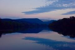 Dawn on the Rhone (armct) Tags: france reflection river dawn countryside purple horizon hills riverbank ardeche rhone viviers