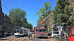 Brandtrap (Peter ( phonepics only) Eijkman) Tags: city holland netherlands amsterdam transport nederland tram rail rails trams brandweer strassenbahn firebrigade noordholland gvb streetcars combino nederlandse