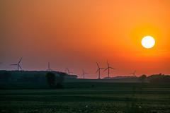 Sunset over wind farm (michaelraleigh) Tags: sunset sun field minnesota canon landscape windfarm windpower windgenerator albertlea 100300mm f56l
