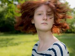 Lili 3 (xfoTOkex) Tags: blue red portrait white green girl face hair nikon women dynamic outdoor stripes d800 movemnet redhaid