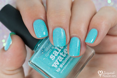 piCture pOlish - Salt Water + nail art (www.lacqueredobsession.com) Tags: blue white art design aqua nail stickers polish flecks holographic waterspotted