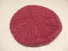 Raspberry beret 3 (frances bell) Tags: knitting blocked raspberry beret