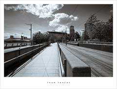 Tram tracks (Parallax Corporation) Tags: blackandwhite station manchester transport perspective platform tram salfordquays duotone mediacity