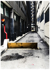 Forbidden Alley (swanksalot) Tags: red chicago yellow alley loop fireescape redlight donotenter 2015 tweeted